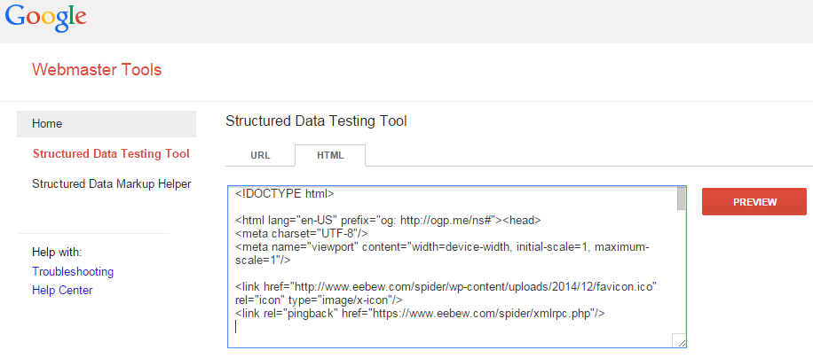 schema testing with google rich snippet tool