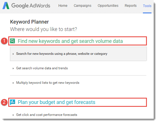 google-keyword-planner-main-page