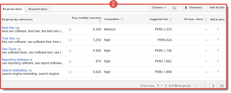 keyword-planner-result-page