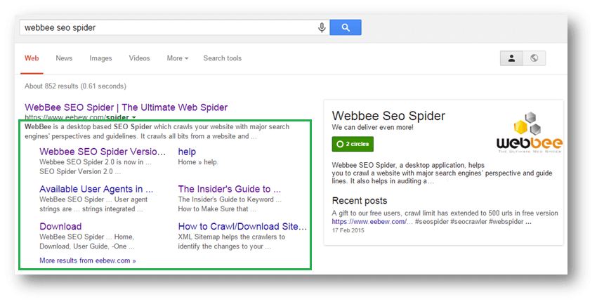 google site links in search results