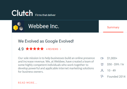 Webbee Inc. Clutch Profile