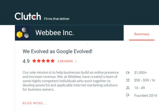 Webbee Inc. Clutch Profile